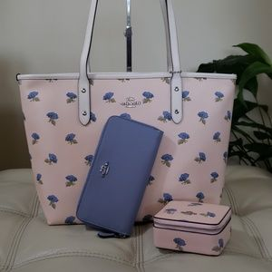 Coach Bags - Coach 3PCS Bell Flower Tote / Jewelry Box / Wallet
